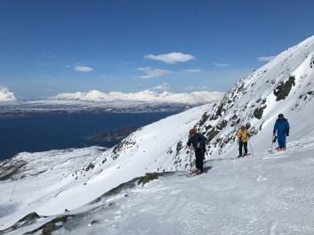 Taking a break to enjoy the scenery on a run down Narvikfjellet's back side