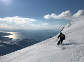 Incredible fjord views skiing the backcountry on the western side of Tredjetoppen