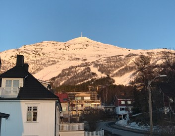 Looking up from town towards the ski area