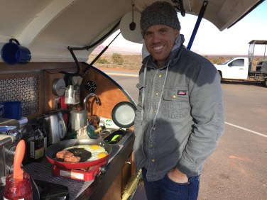 Cooking breakfast in the Monument Valley Parking lot