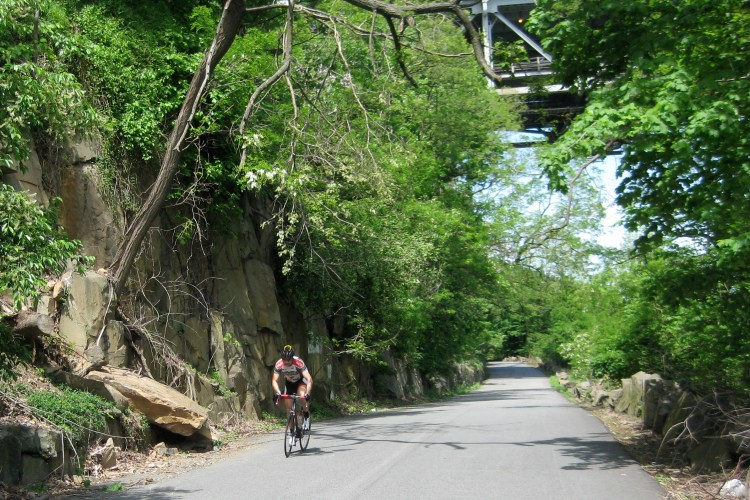 Riding South on River Road, Fort Lee, NJ