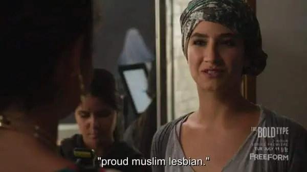 Adeena (Nikohl Boosheri) proclaiming she is a proud Muslim lesbian.
