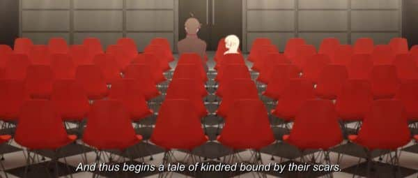 Araragi & Kiss-Shot (Shinobu) in Kizumonogatari III: Reiketsu