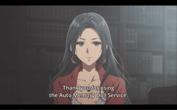 Violet Evergarden Season 1 Episode 1 [Series Premiere] - An Auto Memory Doll thanking someone for their service