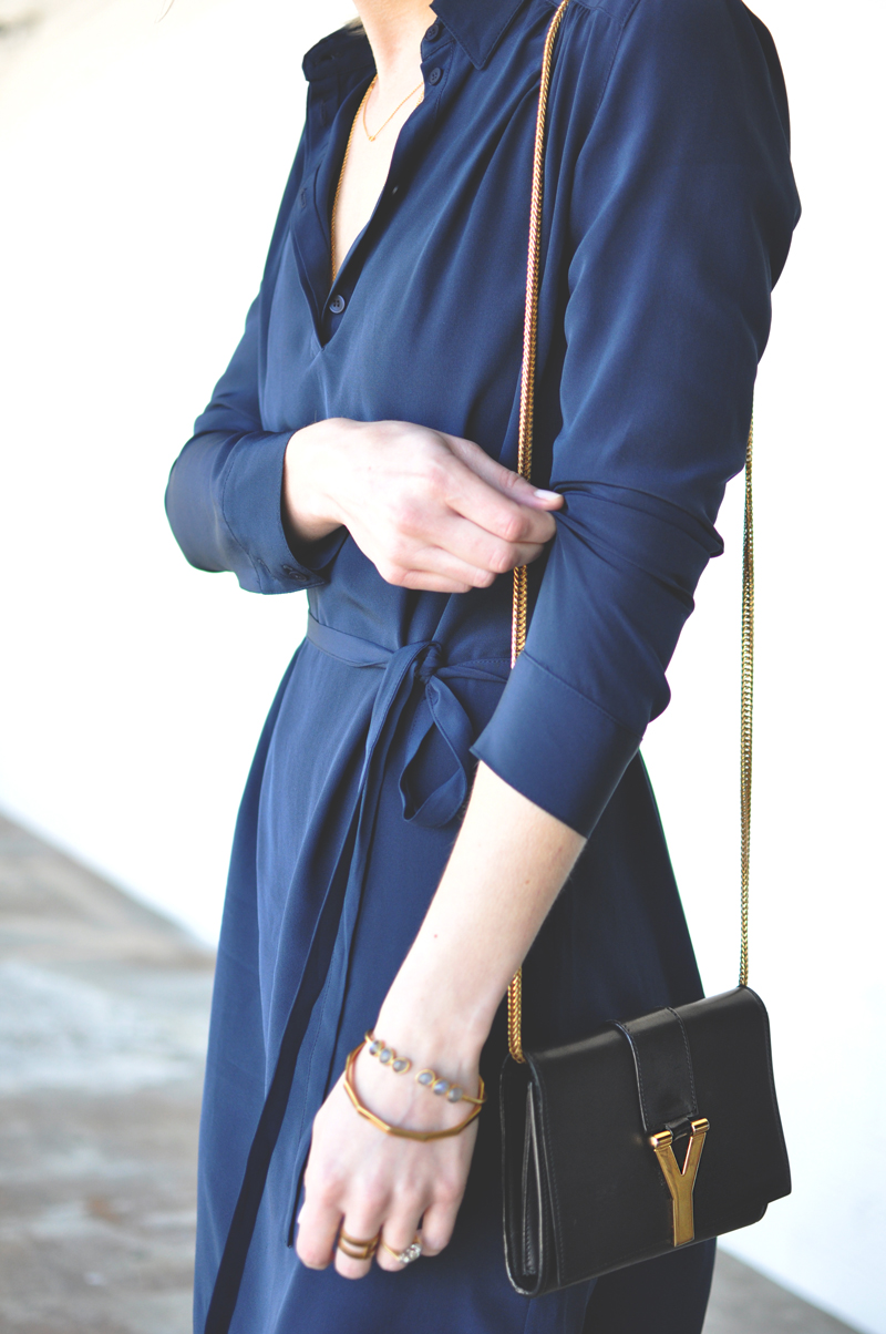 Cuyana Gathered Silk Shirtdress Size Fit Review Navy Blue Saint Laurent Ligne Black Crossbody Bag