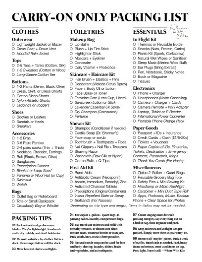 A Light Packing List To Travel Anywhere With A Carry On Where With Elle