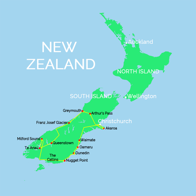 New Zealand North Island Road Map.New Zealand South Island Road Trip Itinerary On Where You Re Between