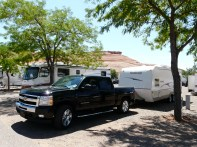 Hard at work towing the travel trailer
