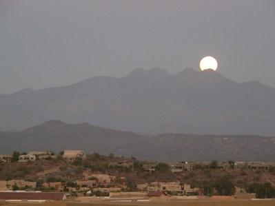 Moon rise over Four Peaks AZ