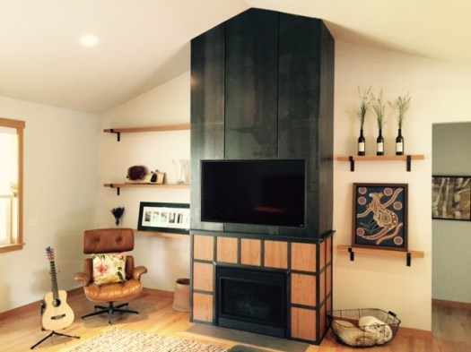 cherry and steel fireplace surround and shelves