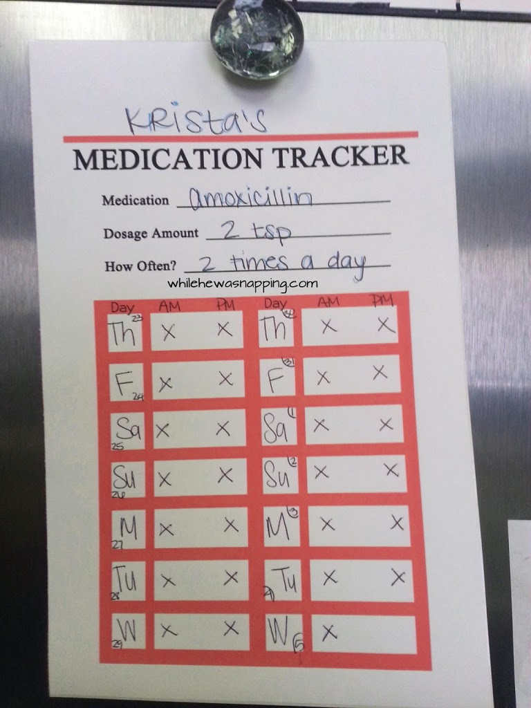 Free Printable Medication Trackers  While He Was Napping