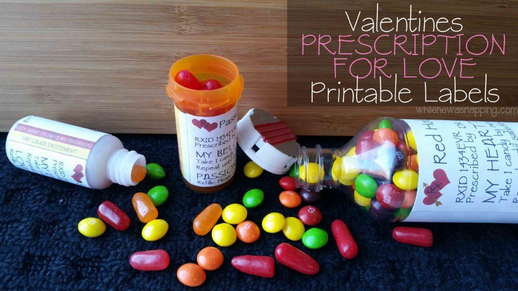 Valentine Prescription For Love Printable Labels While