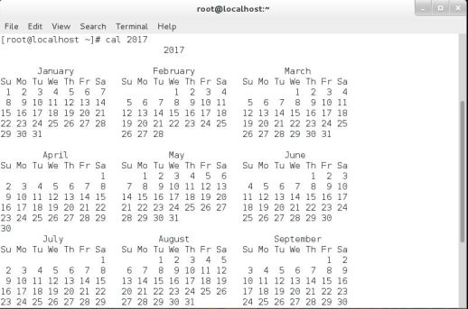 CLI mode callendar, Linux calendar