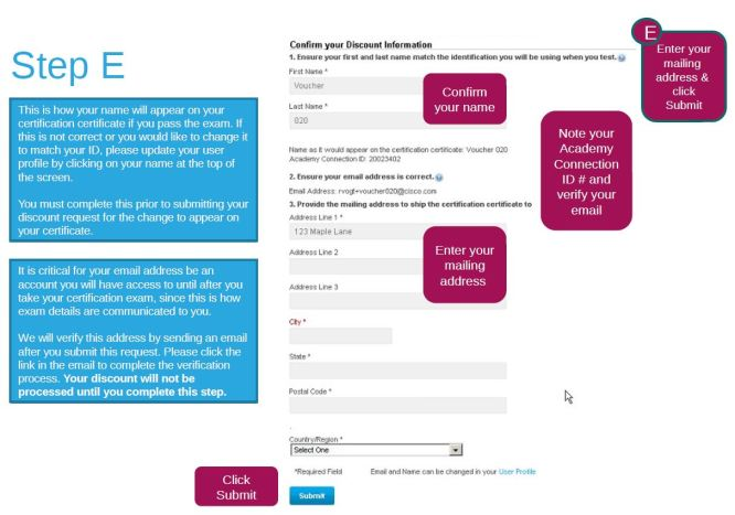 Discount information form