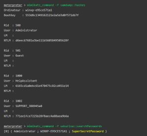 Mimikatz command from the Metasploit meterpreter