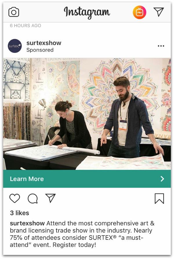 surtex ad on instagram
