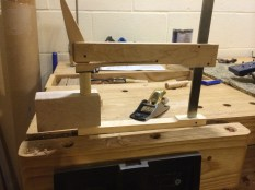 """Drill 3/4"""" hole for dowel, spread glue, clamp, wait."""