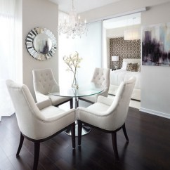White Table Chairs Cushion Risers For And Glass In Modern Dining Room