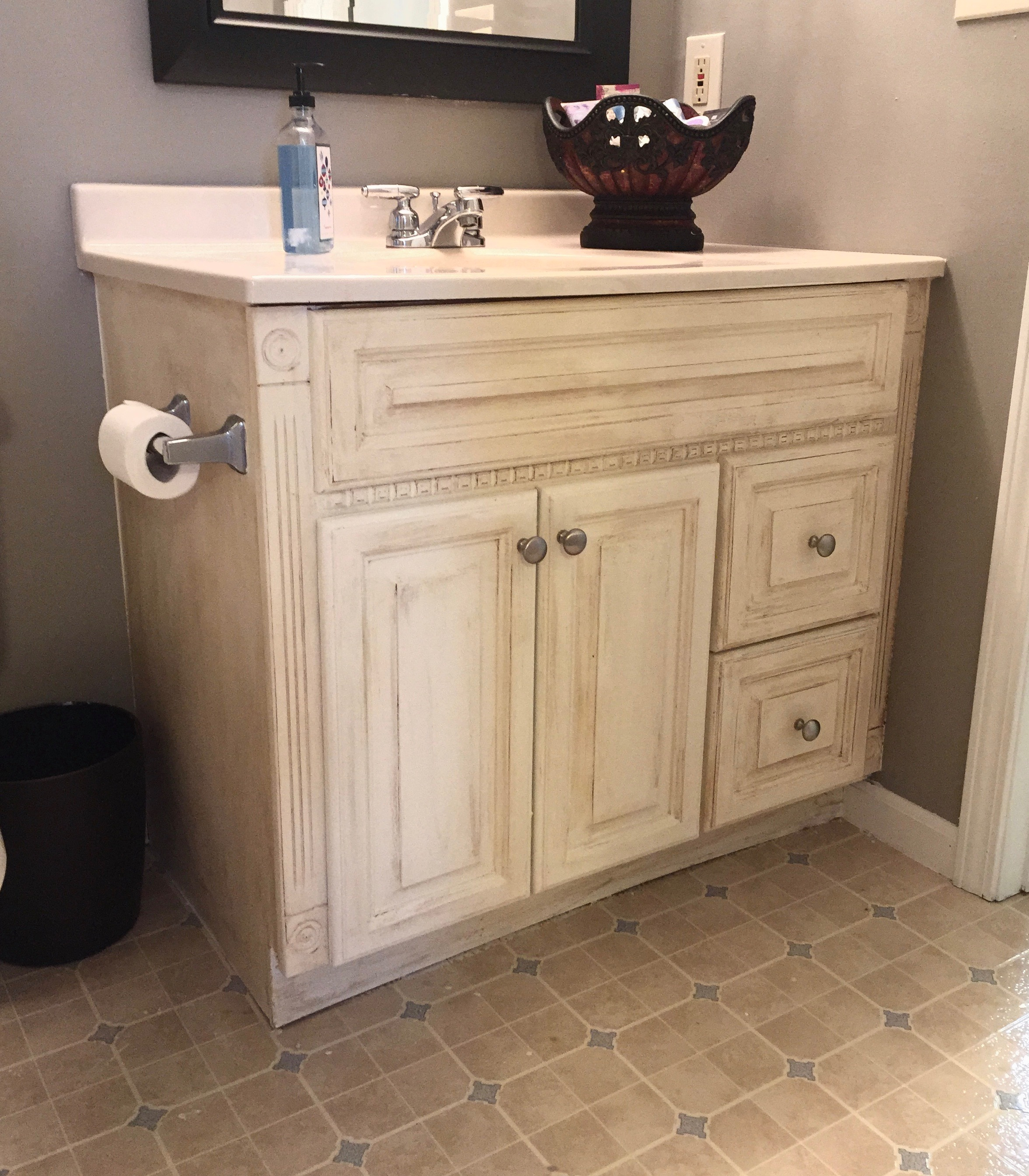 Painted Bathroom Vanity Guest Bathroom Oak Vanity Makeover Whimsical September