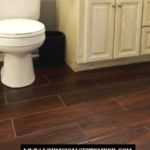 Guest Bathroom Flooring: Tile That Looks Like Hardwood