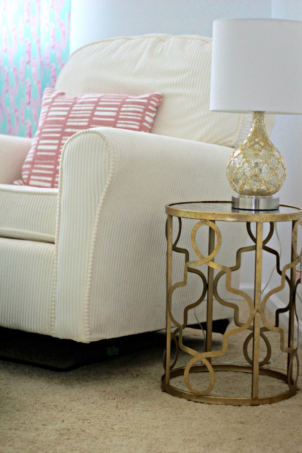 Mint Pink and Gold Nursery Side Table