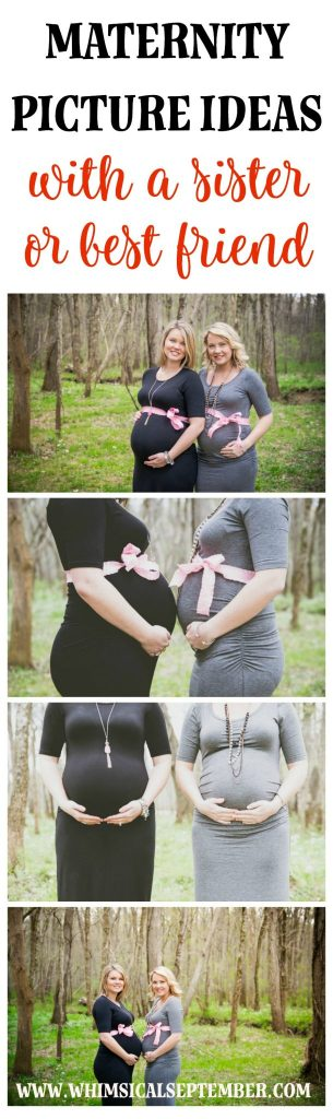Maternity picture ideas to take with a sister or best friend: Click this post to see more than 20 maternity picture poses to share with your photographer as inspiration for your upcoming maternity picture photo session.