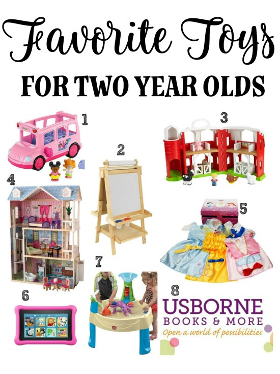 Favorite toys for two year olds: This list of eight items is commonly found in many homes and daycares with two year olds. Whether you're shopping for a girl or a boy, these toys should give you some ideas for what the two year old in your life would love.