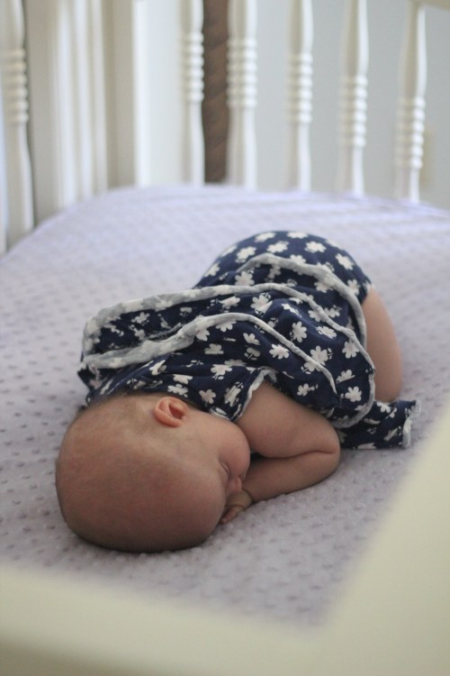 Transitioning from co-sleeping to the crib: We made this switch for both of our daughters when they were around 9 or 10 weeks old, and the switch was seamless both times! Click here to read more about how we made this transitioning from co-sleeping to crib as successful as possible for parents and baby alike.