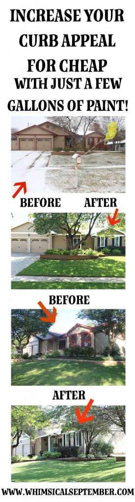 Increase your curb appeal for cheap with just a few gallons of paint! By painting your trim, front door, and shutters, you'll update your exterior's entire look and impressing all of your neighbors. Click here to read more about paint colors and the process of this transformation.
