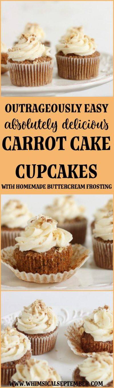 Carrot Cake Cupcakes Recipe with Homemade Buttercream Icing: Plan to double this recipe because your recipients are going to devour these carrot cake cupcakes! They're easy and fast to make and taste better than a bakery. The minced carrots give these cupcakes incredible moisture that make them mouth-watering. Don't miss bringing these to your next event!