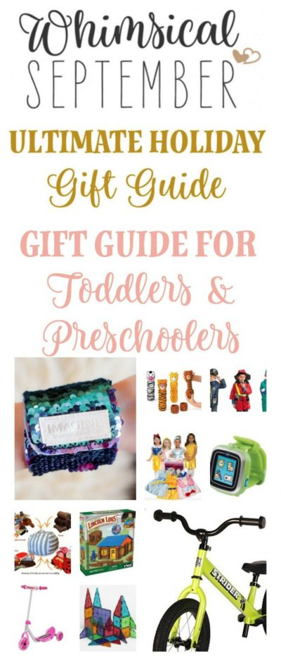 Gift ideas for toddlers and preschoolers: This list includes gifts for being outside, playing inside, technological games, bath time fun, does-up clothes, building toys, and so much more. There are ideas for both girls and boys.