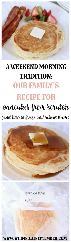 How To Freeze Pancakes + Our Family's Pancake Recipe from Scratch: This perfected family recipe has becoming a Saturday morning staple in our home. In this post, I'll share everything we throw together to create the most dense, delicious pancakes plus our method for how to freeze pancakes to enjoy throughout the week. Enjoy! More at WhimsicalSeptember.com