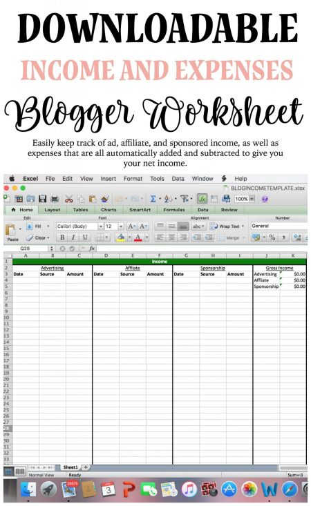 Income and expense worksheet for bloggers: This downloadable worksheet allows you to put in affiliate, advertising, and sponsorship income, and all of it adds up nicely automatically. You'll also be able to include expense information, which will automatically deduct from your income, totally your net income.