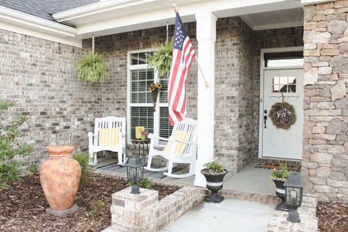 Styling a front porch: We knew we wanted our front porch to be bright and inviting, so we chose a color scheme and got to work! This combination of trendy + timeless styles makes this porch a Southern Living dream! Click here to read more.
