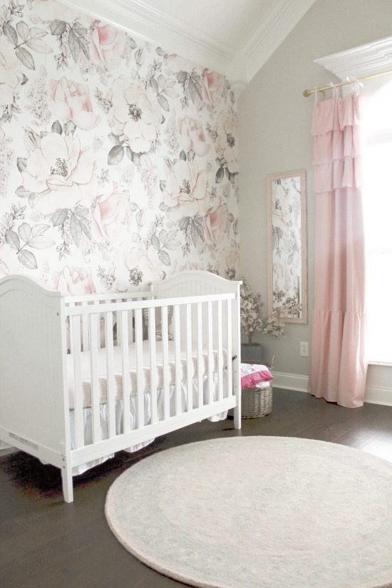 Pink and Gray Nursery Reveal: This post shares ideas, decorations, and resources for creating a baby girl's pink and gray nursery. Whether you are shooting for a rustic theme, shabby chic theme, or other theme, you're sure to find inspiration to create the look you want. You'll find curtains, wallpaper, wall decor, the crib, dresser, and more in this post. Enjoy! More on WhimsicalSeptember.com | Wallpaper from RockyMountainDecals.com