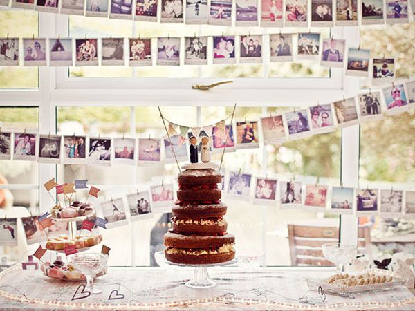 Cake Table Wedding Photo Wall