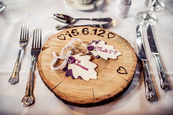 wood place mat wedding favour