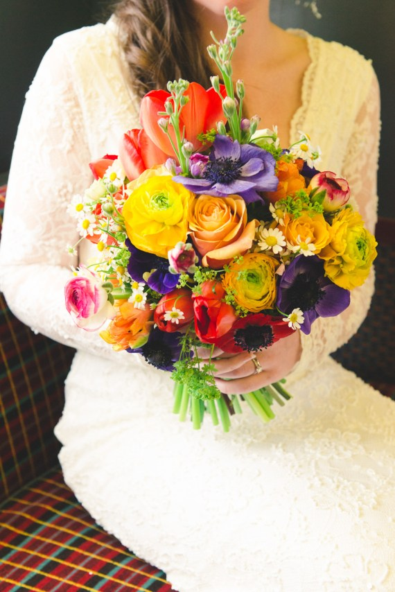 multicoloured rainbow wedding bouquet
