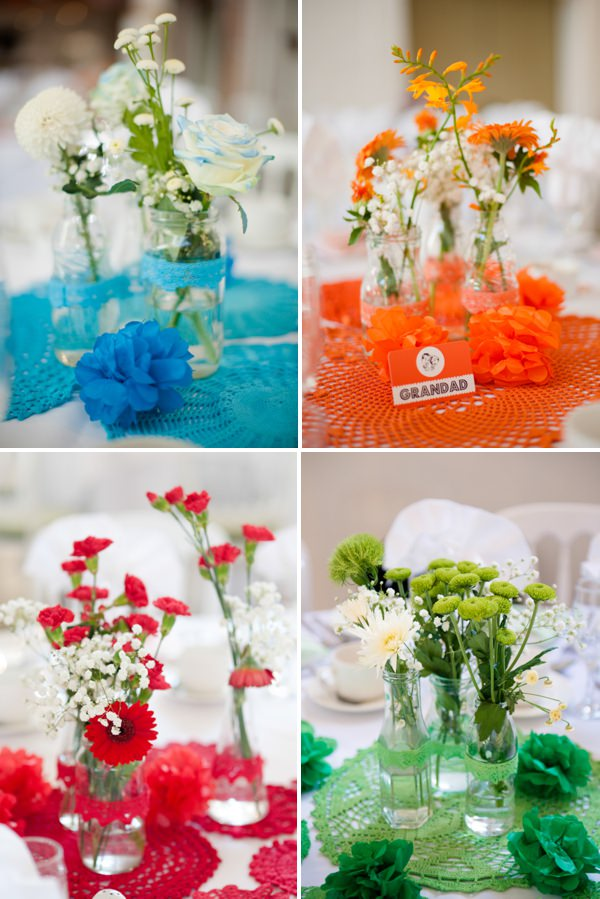 multicoloured wedding centrepieces http://www.georgimabee.com/