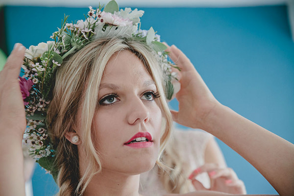 Relaxed Colourful Flower Filled Wedding Flower Crown Bride Pink Lipstick http://www.blissfulwedding.co.uk/