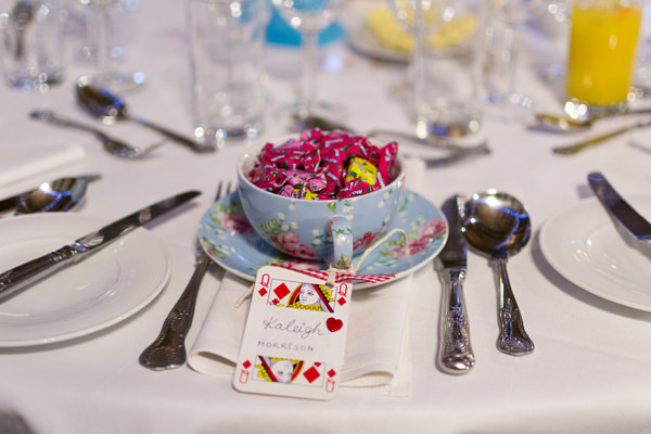 Alice In Wonderland Rainbow Wedding Place Name Cards Tea Cup Sweets
