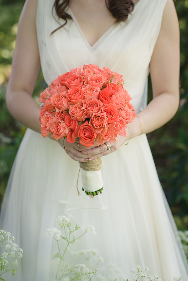 Coral & Green Rustic Wedding Rose Bridal Bouquet http://www.riamishaal.com/