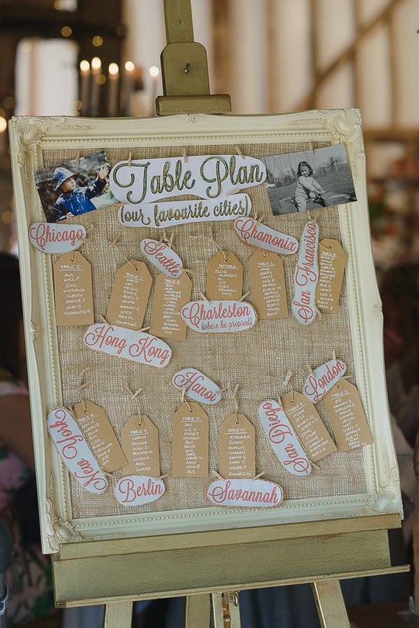 Coral & Green Rustic Wedding Table Plan Hessian Luggage Tag http://www.riamishaal.com/