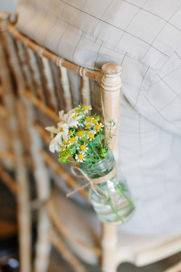 Natural Rustic Daisy Wedding Jar Flowers Chair http://www.camillaarnholdphotography.com/