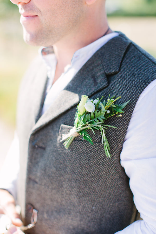 Natural Rustic Daisy Wedding Waistocoat Groom Buttonhole http://www.camillaarnholdphotography.com/