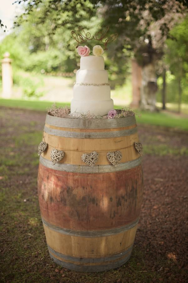 Pretty Pastel Romantic DIY Wedding Barrell Cake Stand http://www.milkbottlephotography.co.uk/