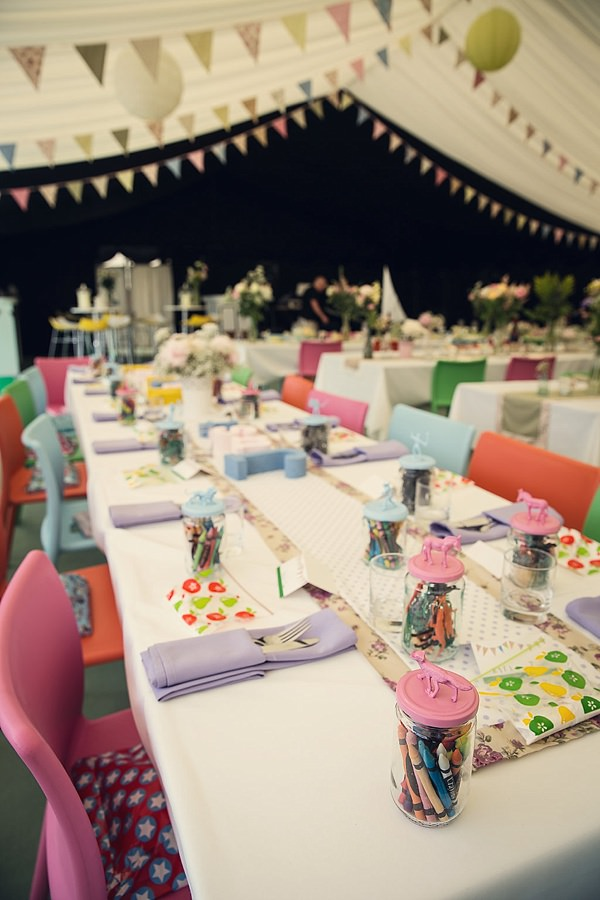 Fun Kid Friendly Colourful Party Wedding Kids Table Goodies http://assassynation.co.uk/