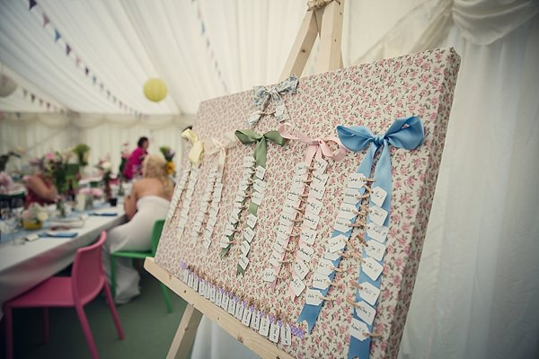 Fun Kid Friendly Colourful Party Wedding Floral Ribbon Table Plan http://assassynation.co.uk/