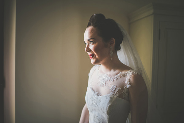 Quiff Up Do Hair Style Red Lips Bride Chic Sophisticated Northern Ireland Wedding http://paulagillespie.com/
