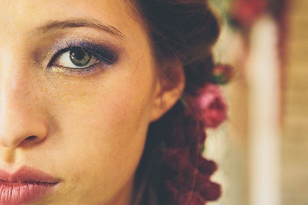 Bride Glitter Make Up Blue Gold Moroccan Nights Wedding Ideas http://www.jessicawitheyphotography.com/